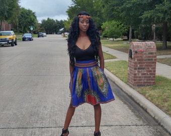 Dashiki Midi skirt, Blue skirt, African print midi skirt,  Midi skirt, Angelina skirt, ankara short skirt, high waist skirt, short skirt