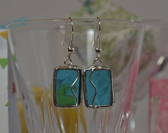 Earrings of glass and Tin. Turquoise rectangles