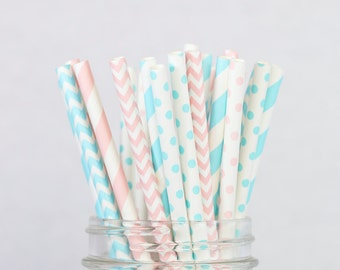 Gender Reveal Party Decorations, Pink and Blue Paper Straws, Baby Shower Decor, Light Pink Polka Dots, Baby Blue Chevron, Shower Decorations
