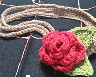 Red Rose Blossom Crochet Headband (~50cm)