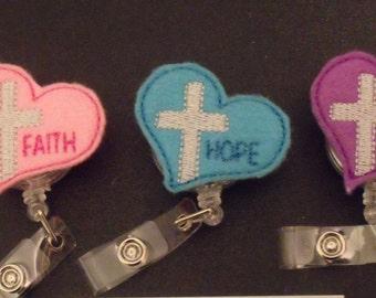 Faith Hope Love Cross Heart Retractable ID Badge Lanyard Clip Nursing Scrubs