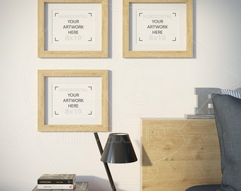 8x10 mockup, Frame product mockup, Set of three frames, Empty frame, Picture frame, Styled stock, Wood matted frame, Wall decor, Mockups
