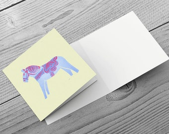 Dala Horse - Christmas Greetings Card/Note Card 148mm x 148mm