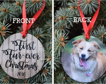 First Furever Christmas - First Forever Christmas - Pet Adoption Ornament - Dog Ornament - Dog Photo Ornament - Cat Photo Ornament - Adopt