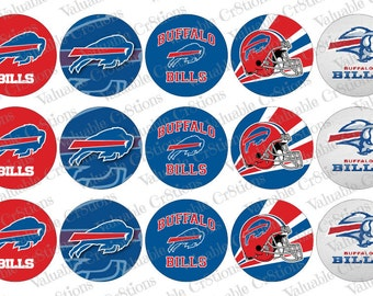 "Buffalo Bills Bottlecap Images, 1"" Circle Images, 4x6 Collage Sheet, Football Images, Craft Graphics, Football, Craft Supplies"