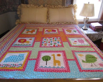 Homemade handmade quilt, owl quilt, pink baby quilt, animal quilt, nursery décor, bright baby quilt, girls quilt