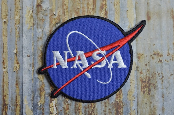 nasa blue white writing space astronaut station iron on patch