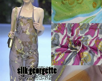 Flawless Pure Silk Georgette Fabric  Printed with Gold Foil Beads.