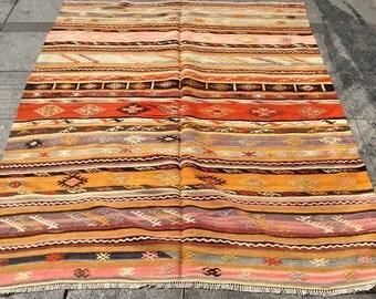 Striped colorful vintage kilim rug 6x5 ft