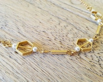 geometric gold plated necklace, romantic necklace, elegant necklace