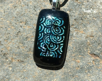 Dichroic Fused Glass Pendant, Black with Shimmering swirls of blue and green, Handmade Necklace
