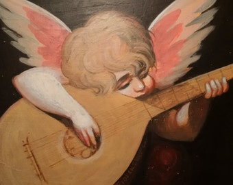 Angel playing the lute Antique oil painting on wood