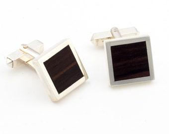Wood silver cufflinks