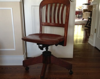 Antique Sikes Oak Bankers Chair