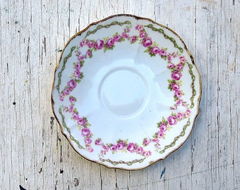 Limoges Elite China, French Tableware, Pink Rose Saucer, Vintage French, Vintage Limoges China, Replacement China, Limoges Saucer