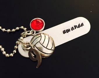 Personalized Hand Stamped Volleyball Necklace with Number