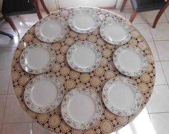 "For sale nine Claremont China dinner plates.  Purchase all 9 plates and purchaser will receive 3""FREE"" Claremont Tea cups..."
