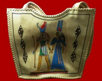Egyptian Pharaoh Genuine Leather hand or Shoulder bag Handmade in Egypt