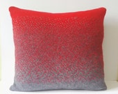 Handmade grey and red 100% Merino wool ombre fade-out knitted square cushion