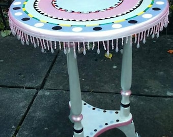 Beautiful Hand painted table with fringe
