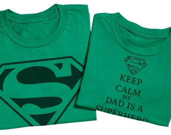 Super Hero Dad And Son Set Superman - Green - Matching Father And Daughter Set - Fathers Day Gift - Men's T-Shirt & Baby Bodysuit
