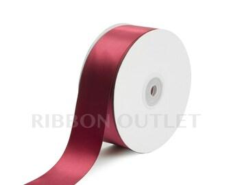 """1 1/2"""" Wine Satin Ribbon 50 Yards Per Roll"""