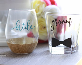 Bride and Groom Glasses, Glitter Wine Wedding Glass Set, Groom Rocks Glass, Bride Wine Glass, Wedding Set, Bride and Groom Set, Glass Set