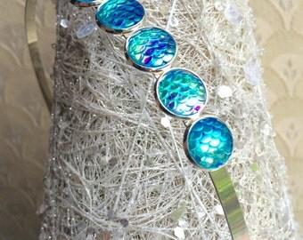 Signiture Sparkly Seafoam turquoise mermaid 5 scales headband