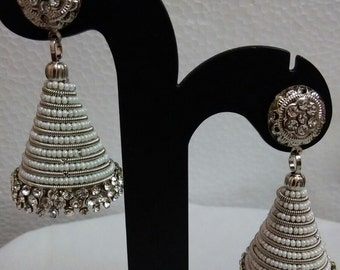 Antique German Sliver conical earrings decorated with beeds and stones