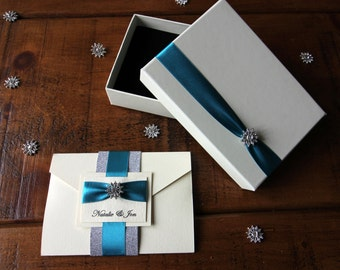 Luxury Solei Boxed Pocket Wedding Invitation with Ribbon and Diamanté Brooch.