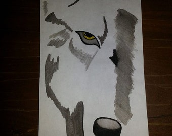 gray wolf watercolor painting