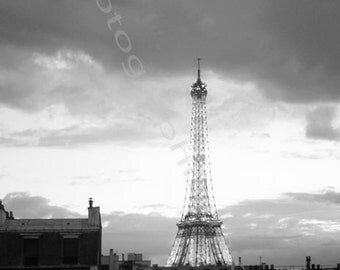Eiffel Tower, Paris, France. People on balcony.