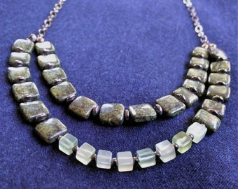 Two Strand Dark Green Russian Serpentine and Prehnite Square Beads on a Chain Necklace