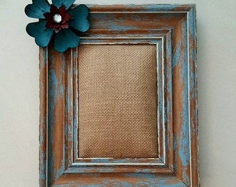 Distressed Rustic Picture Frame Flower Frame Burlap Pin-up Frame Distressed Blue Picture Frame
