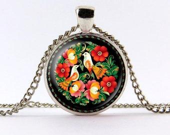 Folk art necklace,Polish folk pendant ,POLISH FOLK