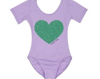 Lavender Leotard with Mint Glitter Heart
