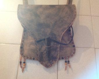 Beaver tail styled veg-tanned leather handbag handmade