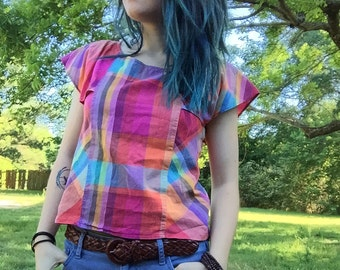 1980's Bright Multicolor Plaid Top