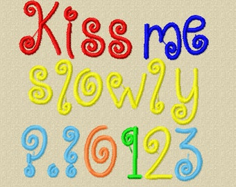 Bogo Free Font, Buy 1 take 1 font, Buy One Take one Font, Kiss Me Slowly Embroidery Font, Instant Download, 3 Sizes, PES Format