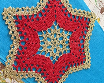 Crochet doily star red gold Christmas handmade vintage 70s cottage style.