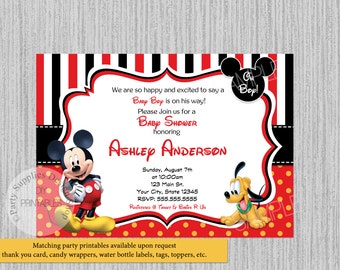 mickey baby shower  etsy, Baby shower invitations