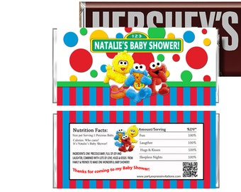 PRINTED Or Digital Baby Elmo Baby Shower Candy Wrappers, Baby Sesame Street  Party Favors,