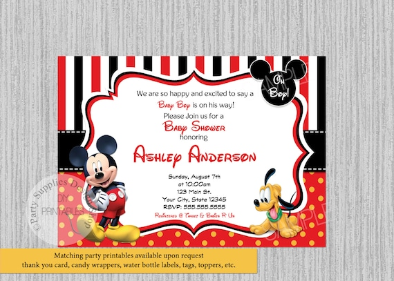 abbastanza Disney Topolino Baby Shower Inviti Mickey Baby Shower Inviti QL97