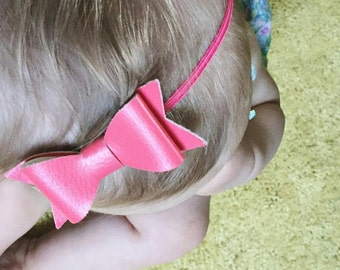 Leather Bows / Pigtails / Headband / Alligator Clip