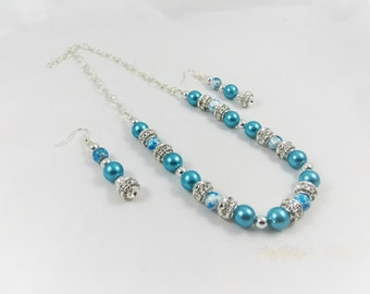 Sparkling Pearl Necklace Set