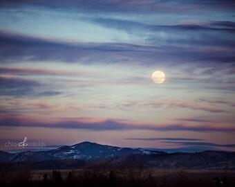 "Full Moon over Montana 8x12"" Metallic Print"