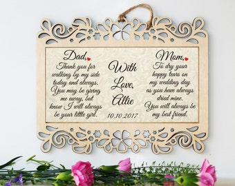 Wedding sign, Wedding gift, Mother of the Bride gift, Father of the Bride gift, Wedding gift parents, Parents of the bride, Gift from Bride