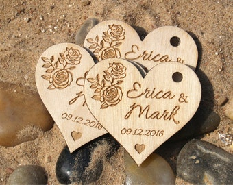 Thank you wedding tags-Wedding favor-Tags-Hearts tags-Wedding favor rustic-Wedding tags-Wedding hearts-Custom tags-Wooden tags-Wood tags