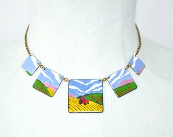 Panorama landscape enamel necklace with meadow and  harvester statement necklace