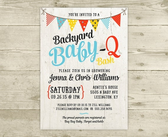 co ed baby shower invitation bbq baby q